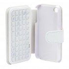 49 Key Mini Rechargeable Bluetooth V2.0 QWERTY Keyboard with PU Case for Iphone 4 - White