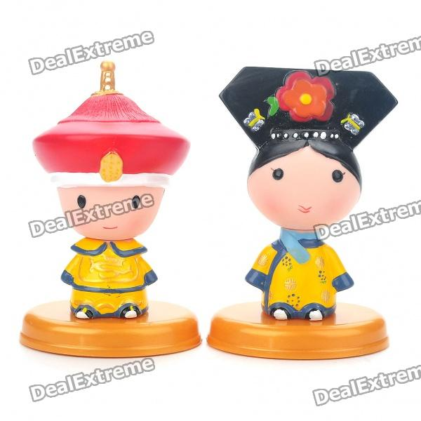 Cute Chinese Style Couple's Resin Display Toy Doll - Emperor and Empress super cute plush toy dog doll as a christmas gift for children s home decoration 20