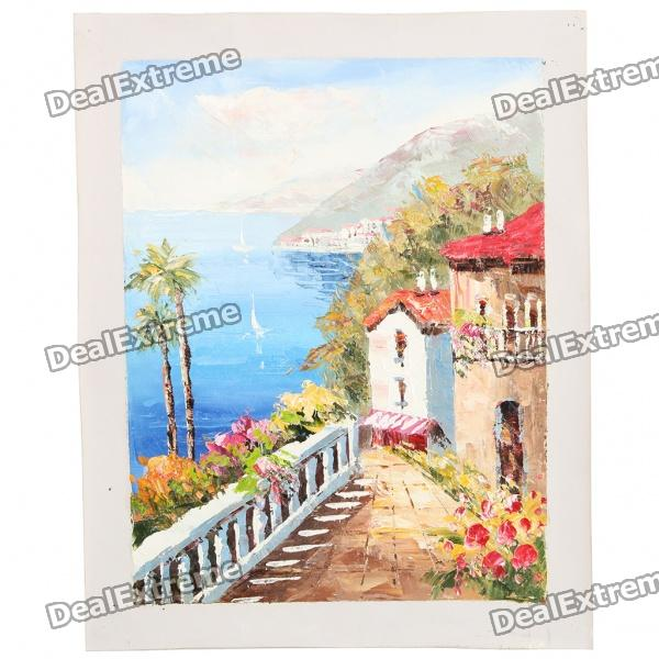 Hand Painted Mediterranean Seascape Oil Painting
