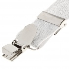Fashion Elastic Clip-on Adjustable Suspenders - Silver White