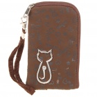 Cute Cat Pattern Abrasive Fabric Pouch Bag for Cell Phone/Gadget - Coffee