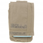 Stylish Cotton Fabric Pouch Bag with Carabiner and Strap for iPhone/Gadget - Clay