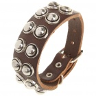 Fashion Punk Style Double Rows Round Rivets Cowhide Leather Bracelet - Coffee