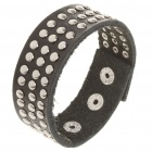 Fashion Punk Style Tri-Row Round Rivets Cowhide Leather Bracelet - Black