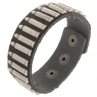 Fashion Punk Style Bullet Shaped Rivets Cowhide Leather Bracelet - Black