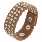 Fashion Punk Style Tri-Row Round Rivets Cowhide Leather Bracelet - Coffee