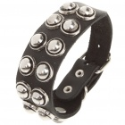 Fashion Punk Style Double Rows Round Rivets Cowhide Leather Bracelet - Black
