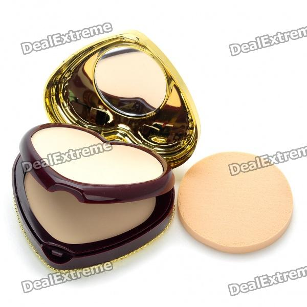 Elegant Heart Shaped Cosmetic Make-Up Dry/Wet Powder Sets - Natural Color