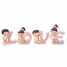 Cute Love Style Desktop Decoration Resin Dolls Toy Set (4-Piece Set)