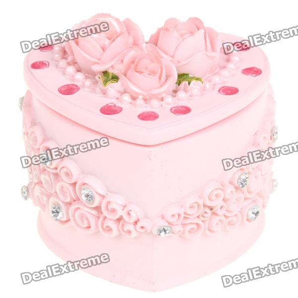 Resin Wedding Couple Jewelry Box - Pink