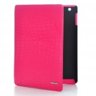 Protective Crocodile Grain Genuine Leather Case for Apple iPad 2 - Rose Red