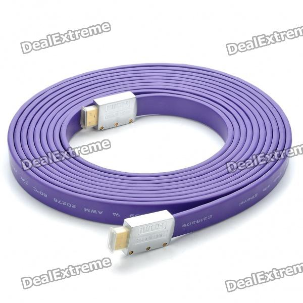 1080P HDMI V1.4 Male to Male Flat Connection Cable - Purple (5M-Length)