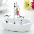 Unique Vessel Vanity Sink Style Clip Storage - White