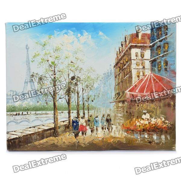 Handmade Hand Painted Oil Painting with Wood Frame - Paris Street