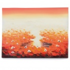 Handmade Hand Painted Oil Painting with Wood Frame - Lotus Pond