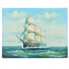 Handmade Hand Painted Oil Painting with Wood Frame - Plain Sailing