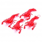 Lifelike Soft Rubber Toys - Red Shrimp (4-Piece Pack)