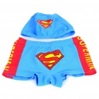 Superman Style Children Swimming Dress Set (Swimming Trunks + Swimming Cap)