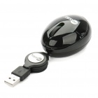 JEWAY Cute Mini USB Wired 1000DPI Optical Mouse w/ Retractable Cable - Black (74cm-Length)