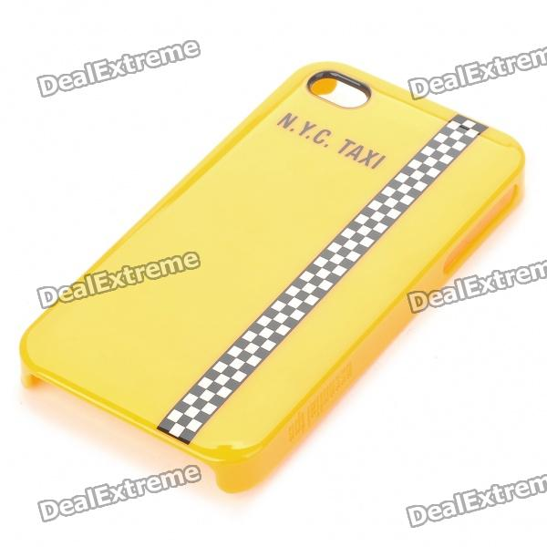 Designer's Protective PC Back Case w/ Screen Protector/Cleaning Cloth for iPhone 4 - Yellow