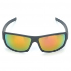 Outdoor Sports Plastic Frame PVC Lens Sunglasses - Black + Golden