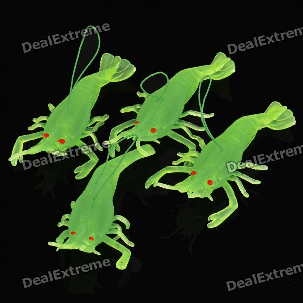 Glow-in-the-Dark Lifelike Soft Rubber Toys - Green Shrimp (4-Piece Pack)