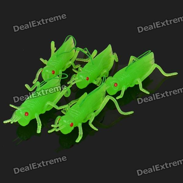 Glow-in-the-Dark Lifelike Soft Rubber Toys - Green Locust (5-Piece Pack)