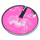 Stylish Portable Neoprene Round Mouse Pouch Pad - Pink + Black