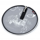 Stylish Portable Neoprene Round Mouse Pouch Pad - Grey + Black