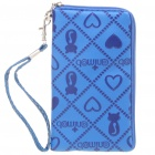 Protective PU Leather Case w/ Strap for Cell Phone - Blue
