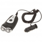 3W Car Cigarette Lighter Powered Double-Floating Loop Speed Foil Shaver Razor - Black (DC 12~24V)