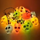 Halloween 16-Skull Style Colorful Flashing String Light (220V)