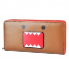 Domo-Kun Style Multi-Compartment PU Leather Wallet - Brown