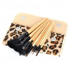 Portable Beauty Cosmetic Makeup Brush Set with Leopard Bag (12-Piece Pack)