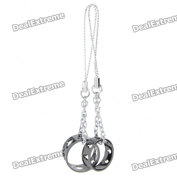 Lovers Ring Pendant Cell Phone Strap - Random Color (2-Piece Pack) ring style cell phone decoration cord strap black silver 2 pcs
