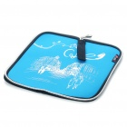 Stylish Portable Neoprene Square Mouse Pouch Pad - Blue + Black