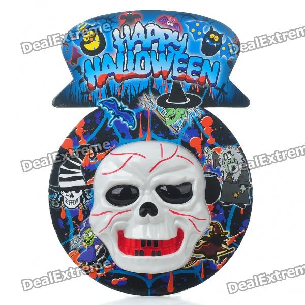Halloween Wall-Mount Scary Skull with Voice Activated Light & Sound (3 x AA) life size scary severed head party decoration haunted house halloween props