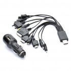 10-in-1 Car Cigarette Powered USB Cell Phone Charger - Black (12~24V)