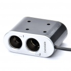 Dual Car Cigarette Sockets Power Adapter with USB Power Port - Black (DC 12~24V)