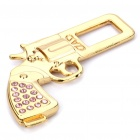 Revolver Shaped Metal Safety Belt Buckle - Golden + Pink