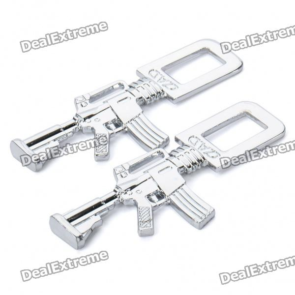 M4 Carbine Shaped Metal Safety Belt Buckle - Silver (Pair)