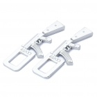 AK47 Shaped Metal Safety Belt Buckle - Silver (Pair)