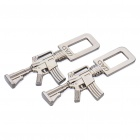 M4 Carbine Shaped Metal Safety Belt Buckle - Titanium (Pair)