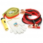 5-in-1 Car Positive and Negative Booster Cables/Flashlight/Gloves/Tow Rope/Fuses Kit