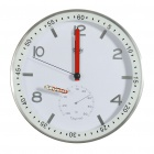 "Modern 12"" Metal Round Wall Clock w/ Thermometer Dial - White + Silver (1 x AA)"