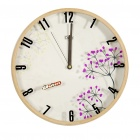 "Modern 12"" Wooden Round Wall Clock - White + Brown (1 x AA)"