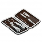 Portable 6-in-1 Stainless Steel Manicure Personal Beauty Sets w/ PU Leather Case