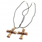 Cool Skull Cross Style Cattle Bone Pendant Necklace - Coffee + White (Pair)