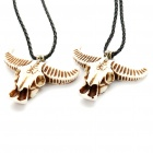 Cool Bull Skull Style Cattle Bone Pendant Necklace - Coffee + White (Pair)