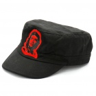Che Guevara Pattern Flat Top Cotton Fabric Cap Hat - Black